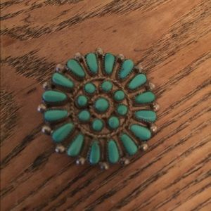 Jewelry - Vintage Needlepoint Turquoise and Sterling pin
